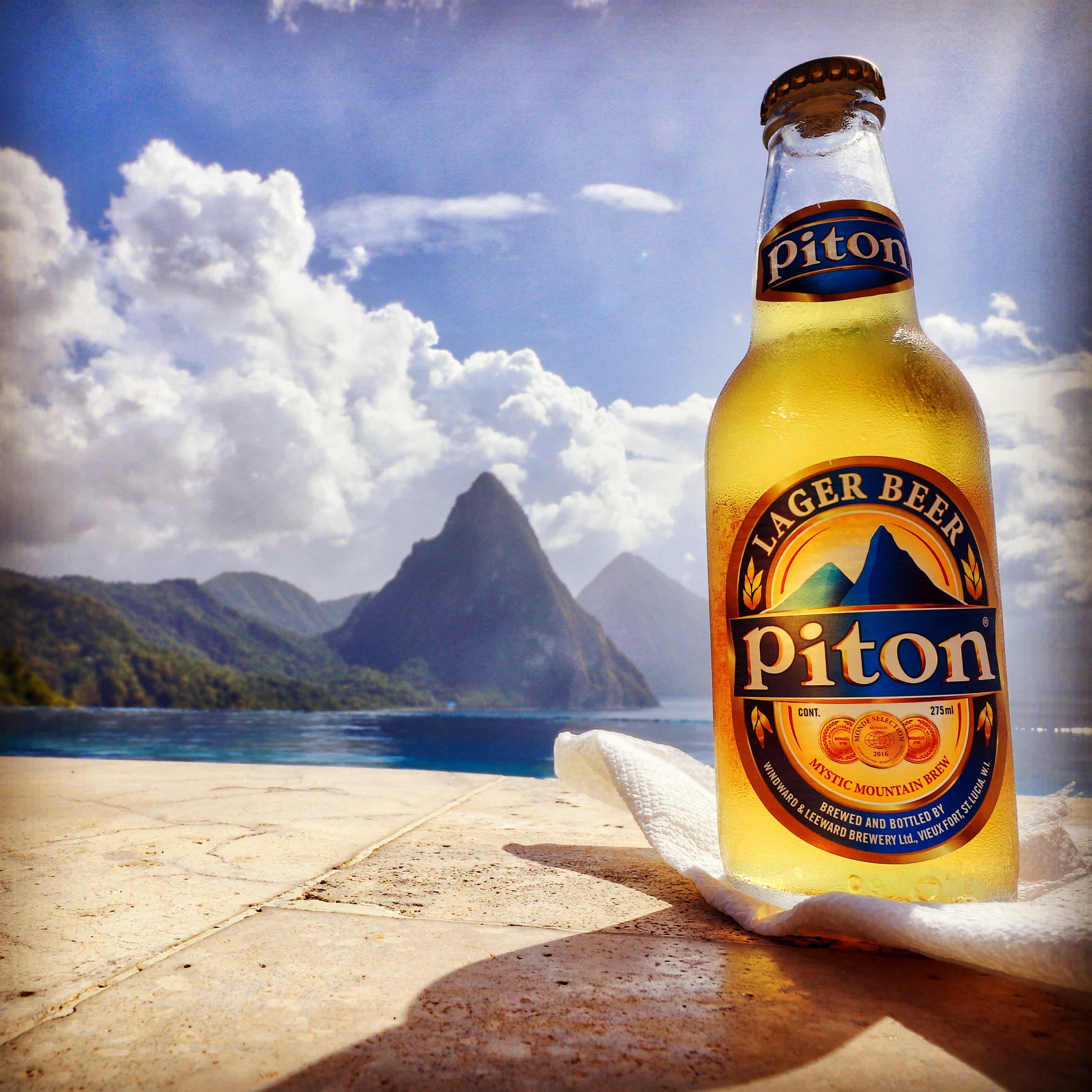 Piton Lager Beer Caille Blanc Villa St. Lucia Infinity Pool