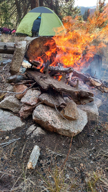 Campfire at lower Washakie Park