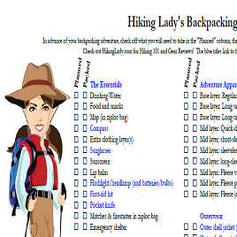 Hiking Lady's Backpacking Checklist