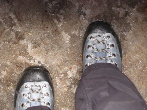Wearing my La Sportiva Glacier Evos in icy slush