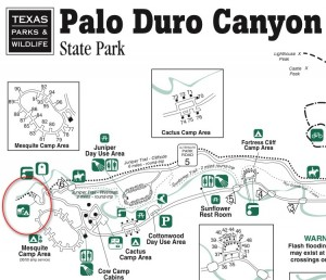 Palo Duro Canyon Park Map
