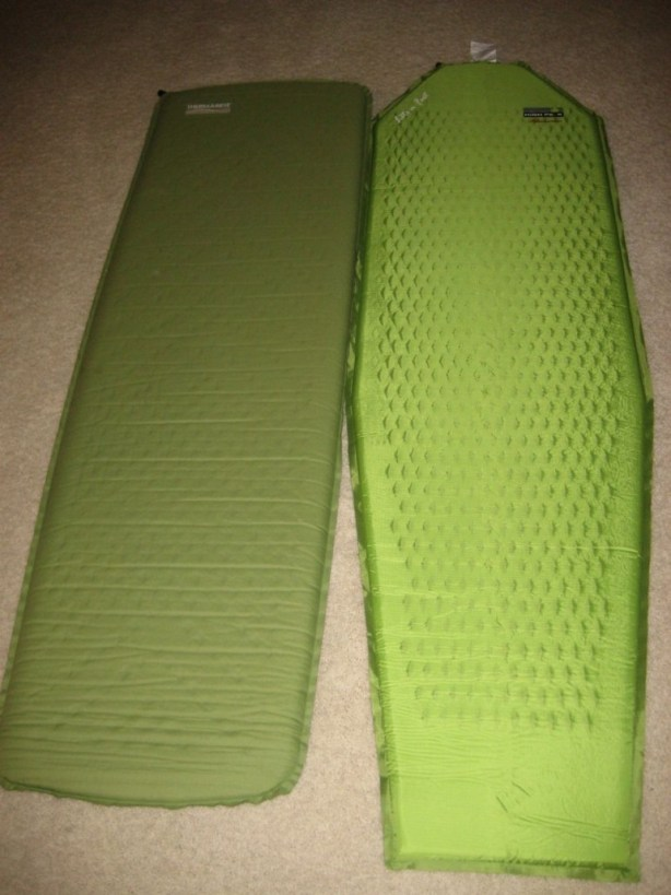 Thermarest Trail Pro (left) and High Peak Lite N Fast (right)