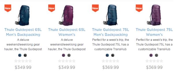 Thule Guidepost backpacking packs
