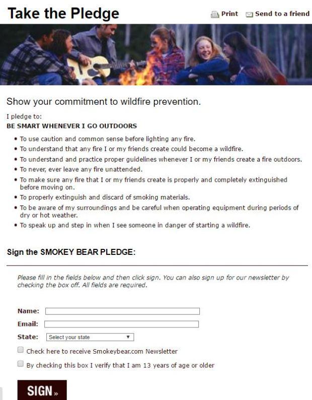 Smokey Pledge Form