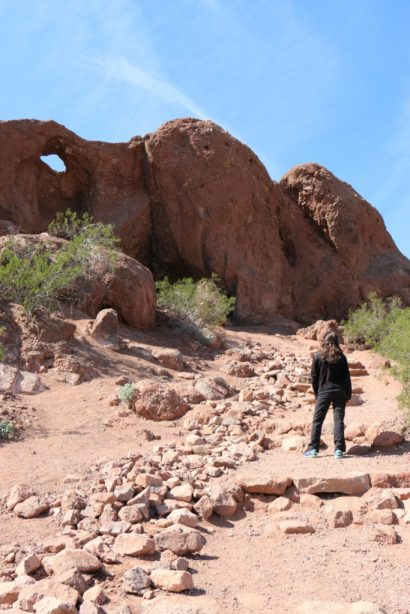 "Hiking Lady headed up to see ""Hole in the Rock"" at Papago Park"
