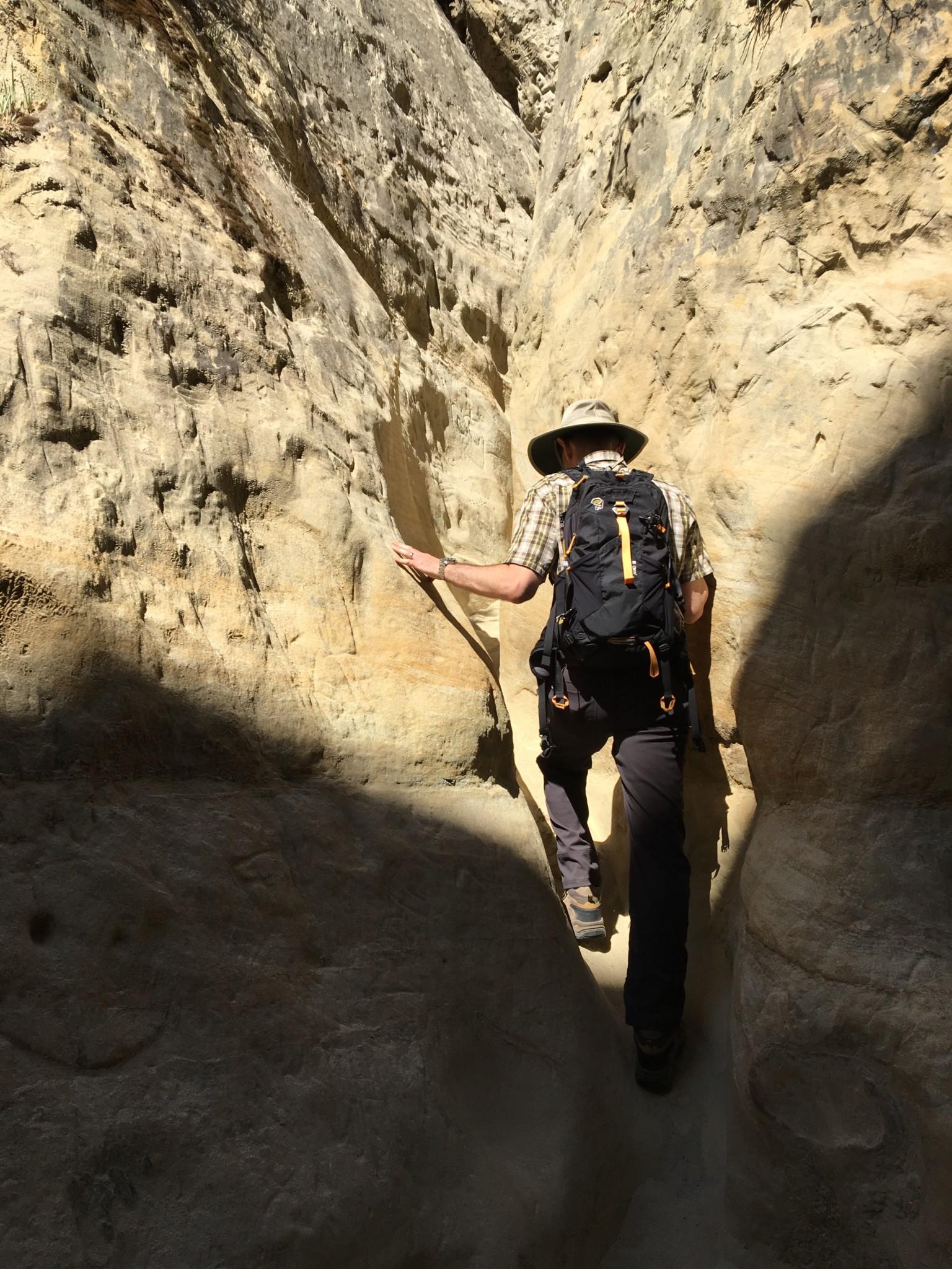Climbing the slot canyon