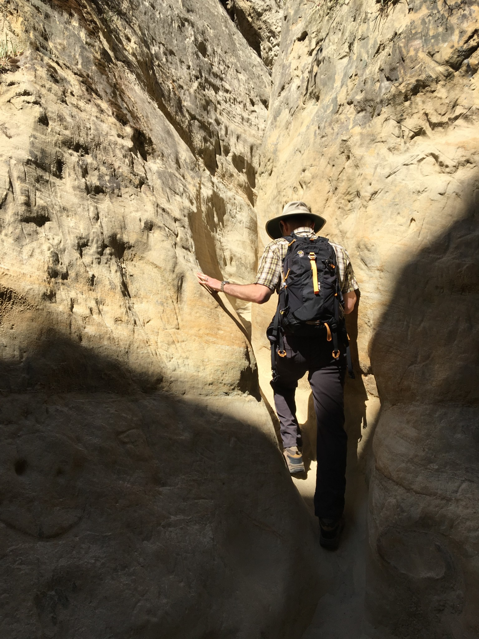 Climbing the slot canyon