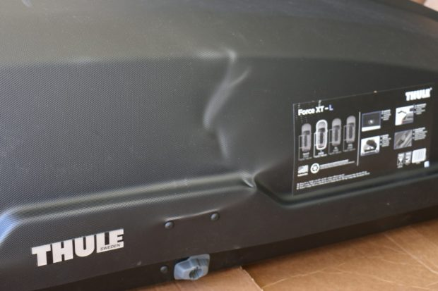 The Thule Force XT L Roof Box - it survived being smashed by an 800 pound safe in the delivery truck!