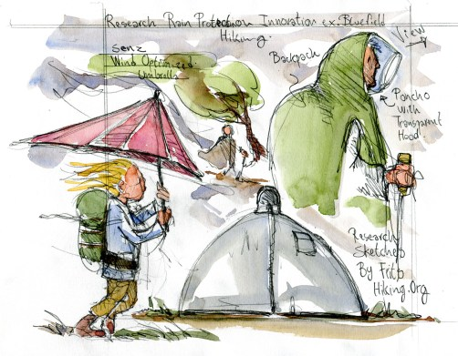drawing of umbrella, poncho and poncho-tent