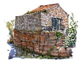 Watercolor of small granite stone cottage on Ertholmene ( Christiansoe )