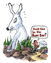 Drawing of a hiking caching the tail of something