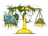 Drawing of a scale with nature, us and Earth on one side and money on the other