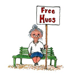 "old woman on a bench with a sign saying ""free hugs"""