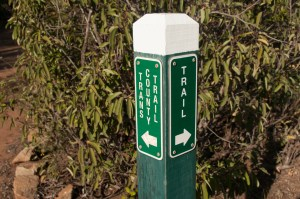 Trail marker sign for San Diego Trans County Trail at the Oakoasis Open Space Preserve