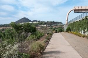 The trail to Bernardo Mountain begins along side I-15