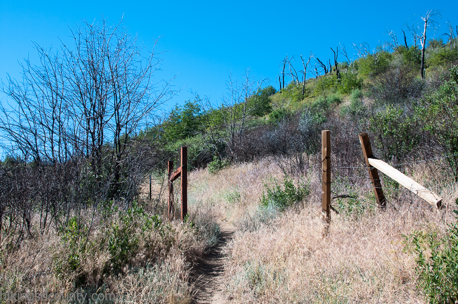 A mysterious fence runs along the trail en route to Garnet Peak