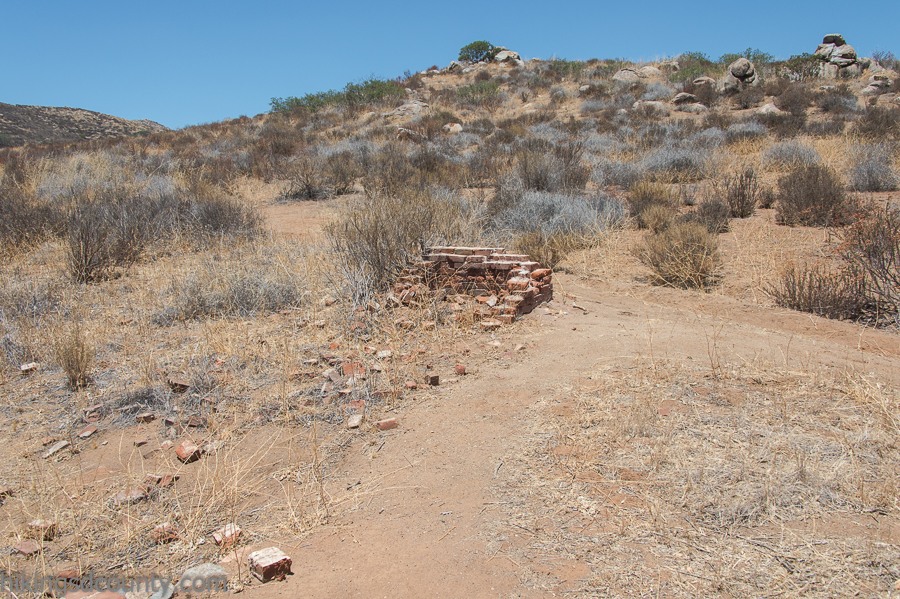 The ruins of an old cabin can be found along the Hollenbeck Canyon trail