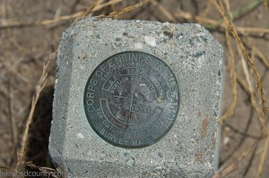 Survey marker at San Elijo Lagoon