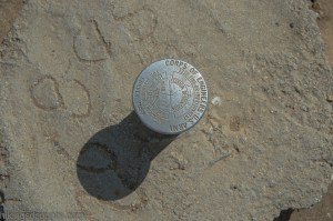 Survey marker on the Bayside Trail at Cabrillo National Monument
