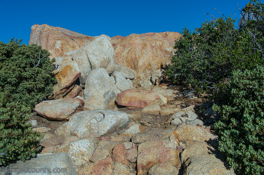 The peak consists of a rocky pile of boulders