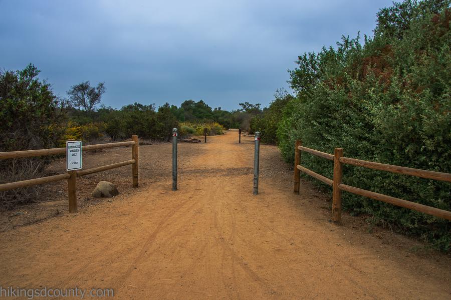 Start of the Tijuana River Valley trail near Dairy Mart pond