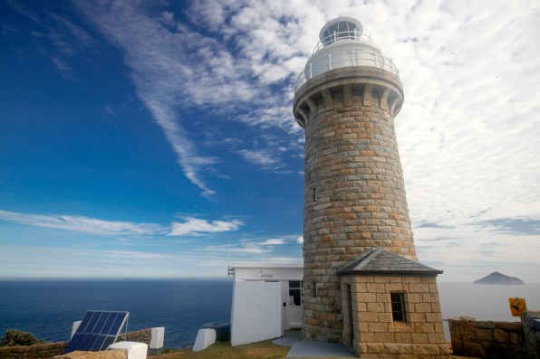 Wilsons Prom Lighthouse... 12V globe is powered by the solar panel array (left of photo) and bank of batteries that lasts up to tnen days