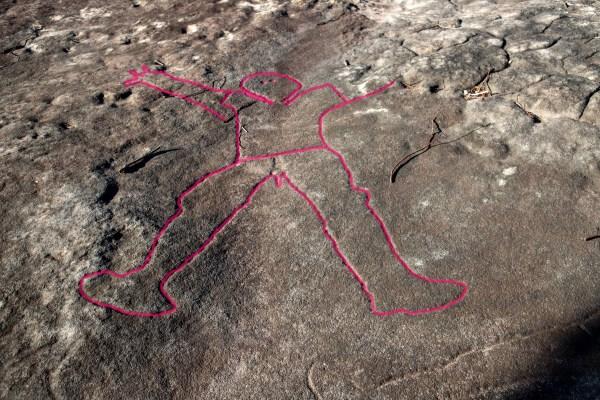 Engraving of a man at Spirits Rock (Cowan Trail) - highlighted