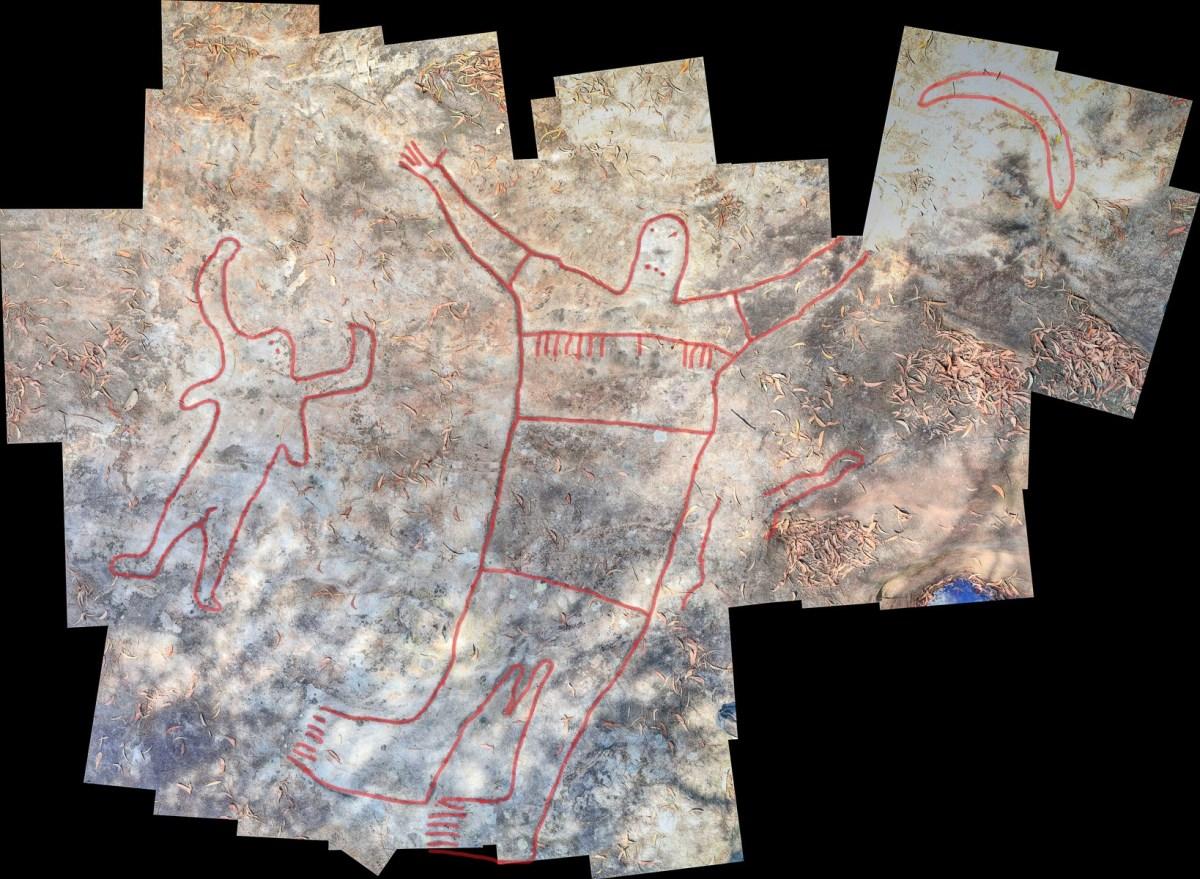 Montage1 stitch edited LR highlighted Mt Ku-ring-gai Aboriginal site