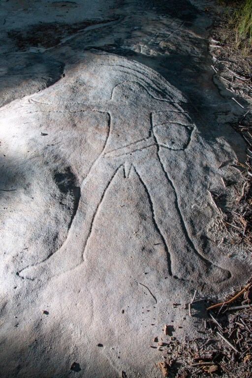 Man with Club Aboriginal engraving along Resolute Track
