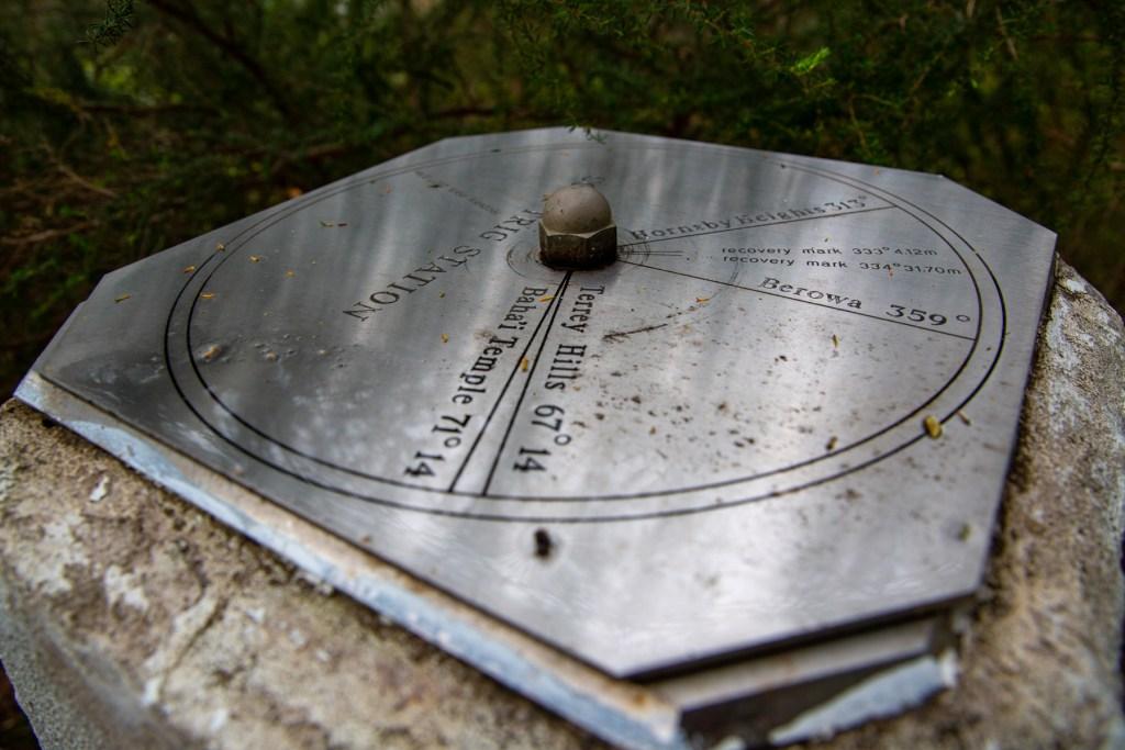 Cook Trig Station steel direction plate