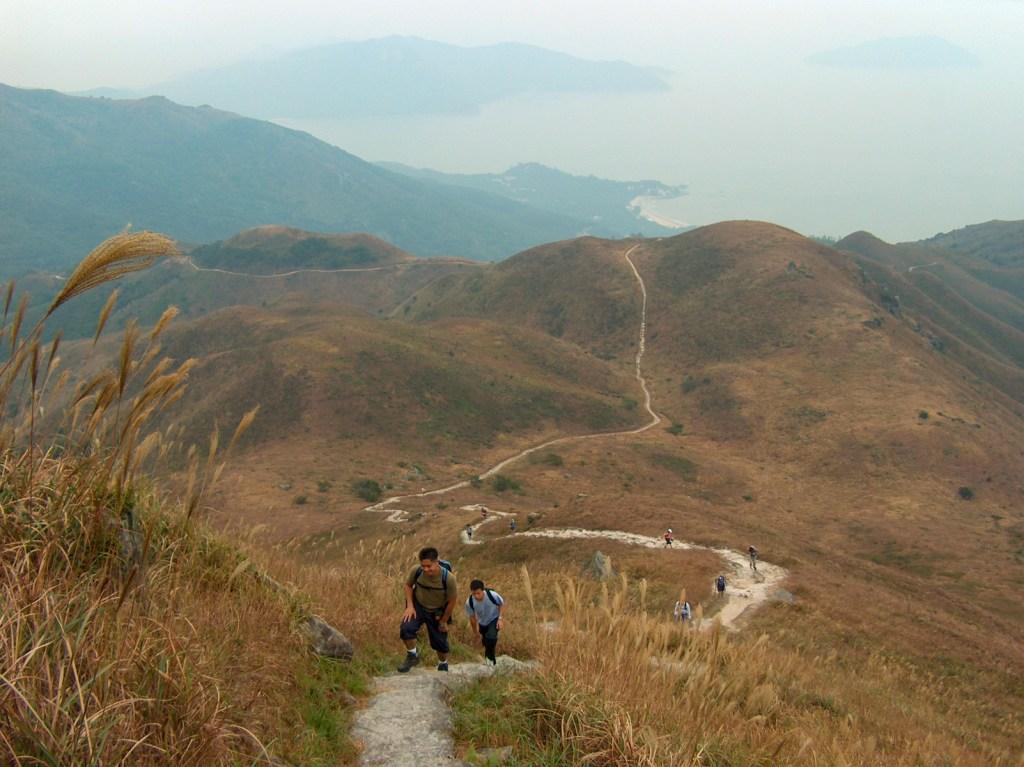 Hiking up to Lantau Peak on Lantau Trail