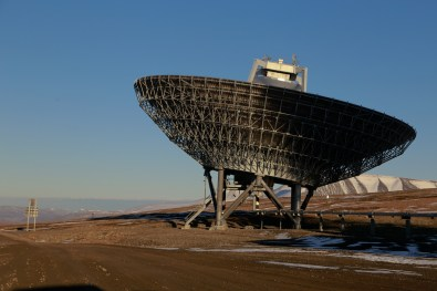 One of the two EISCAT Svalbard radar dishes in Longyearben