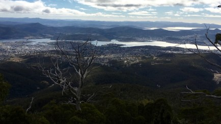 Looking east over Hobart from the track
