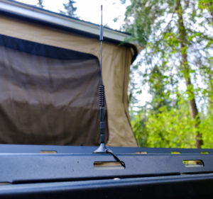 The outdoor antenna mounted in the front of the Mantis for the cell signal booster