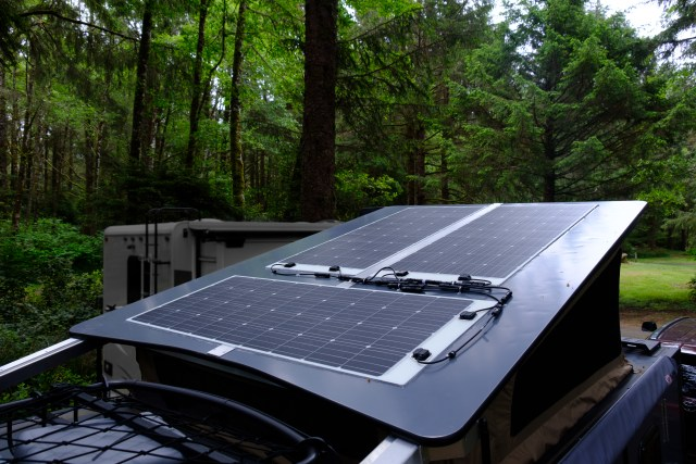 Three 160 watt flexible solar panels adhered to the Mantis roof