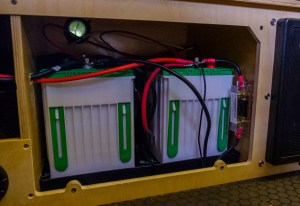 Two interstate 31M-AGM deep cycle batteries in the Mantis battery box, fuse from charge controller mounted to right