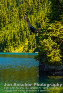 Jumping into big Cougar Lake
