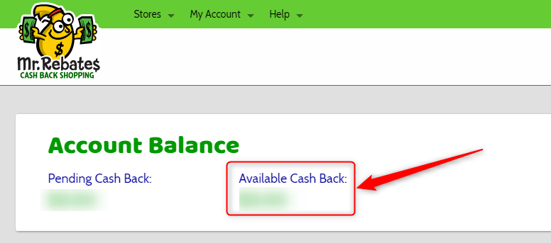 「Available Cash Back」に貯めます