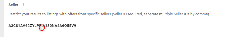 Product Finderの「Seller」項目に貼り付け