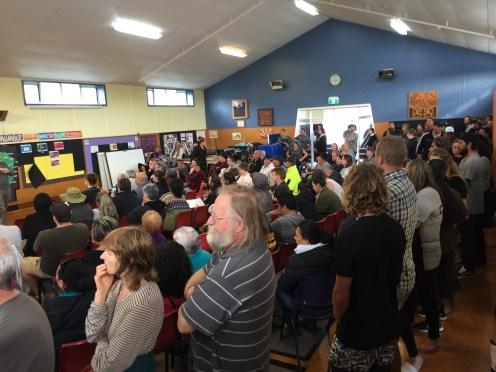 It was standing room only yesterday as hundreds of local investors waited at Waikirikiri School for a chance to contribute to Waiapu Investments at the final East Coast roadshow meeting in the Gisborne suburb of Kaiti.