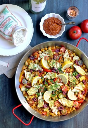 vegetarian paella with romesco sauce, via Two of a Kind Cooks
