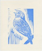 Linocut Song Sparrow