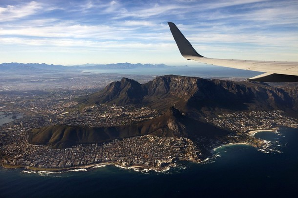 The plane carrying U.S. Secretary of State Clinton flies over Cape Town, South Africa, en route to Nigeria and Ghana