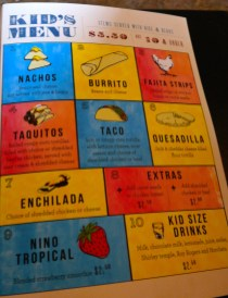 Kids Menu at El Palomar