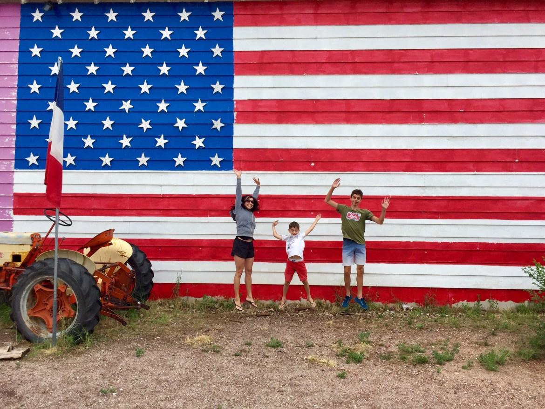 Historic Route 66 Seligman Arizona American Flag painting