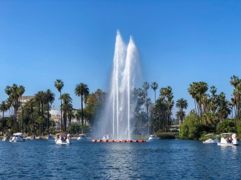 Echo Park Lake Echo Park Los Angeles California #lawithkids #echopark #familytravel #thingstodowithkidsinla