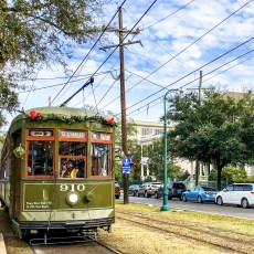 St. Charles Street Car Festive New Orleans Louisiana