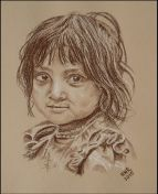 """Nepali Girl"" ~ Faces of the Earthquake series. Auctioned online to benefit the earthquake victims in Nepal. (owner R. Martin) White and Sepia Chalk on Pastel Paper."