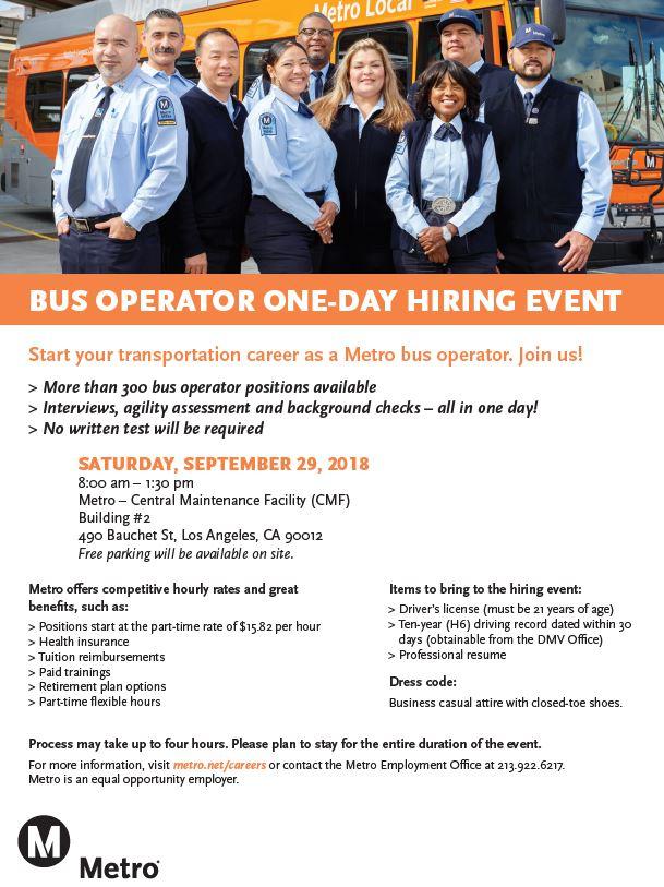 METRO Bus Operator One-Day Hiring Event – Supervisor Hilda L