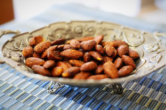 smoked spiced almonds